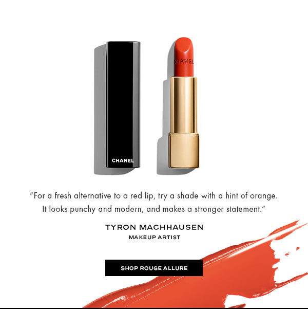 """For a fresh alternative to a red lip, try a shade with a hint of orange. It looks punchy and modern, and makes a stronger statement.""-Tyron Machhausen, Makeup Artist"