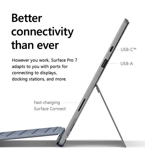 Better connectivity than every. However you work, Surface Pro 7 adapts to you with ports for connecting to displays, docking stations, and more. USB-C. USB-A. Fast-charging Surface Connect.