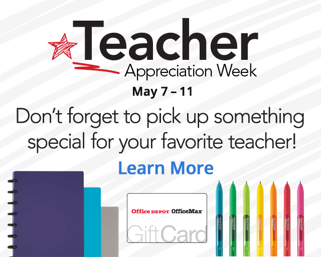 Teacher Appreciation Week and 20% Back in Rewards Coupon