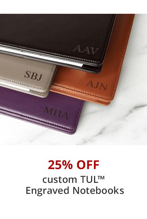 25% off custom TUL engraved notebooks