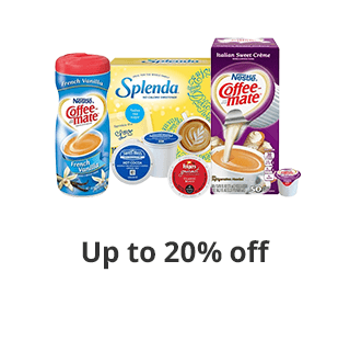 Save up to 20% select Kcups,sweetners,creamers