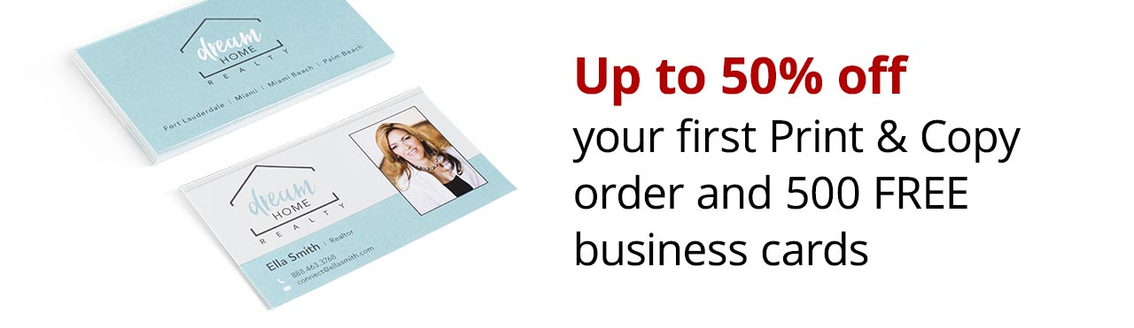 Up to 50% off first print & copy order