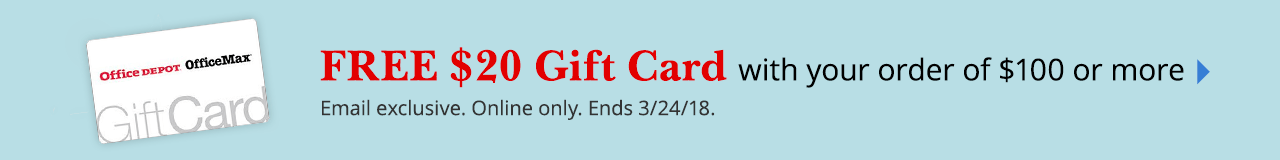 Free $20 Gift Card with qualifying order of $100 or more