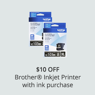 $10 off Brother Inkjet printer with ink purchase