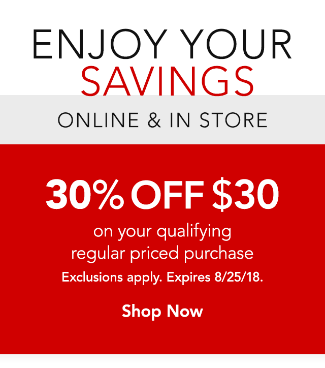 30% off your regularly priced purchase of $30