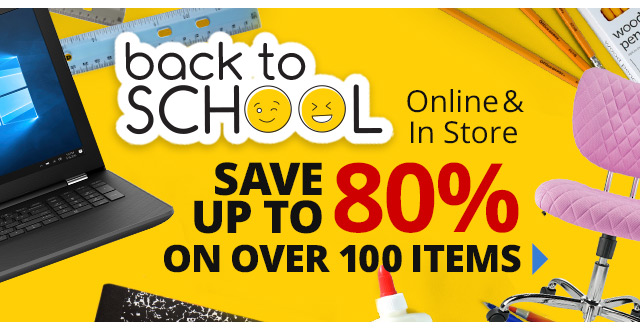 Save up to 80% off over 100 items In Store and Online