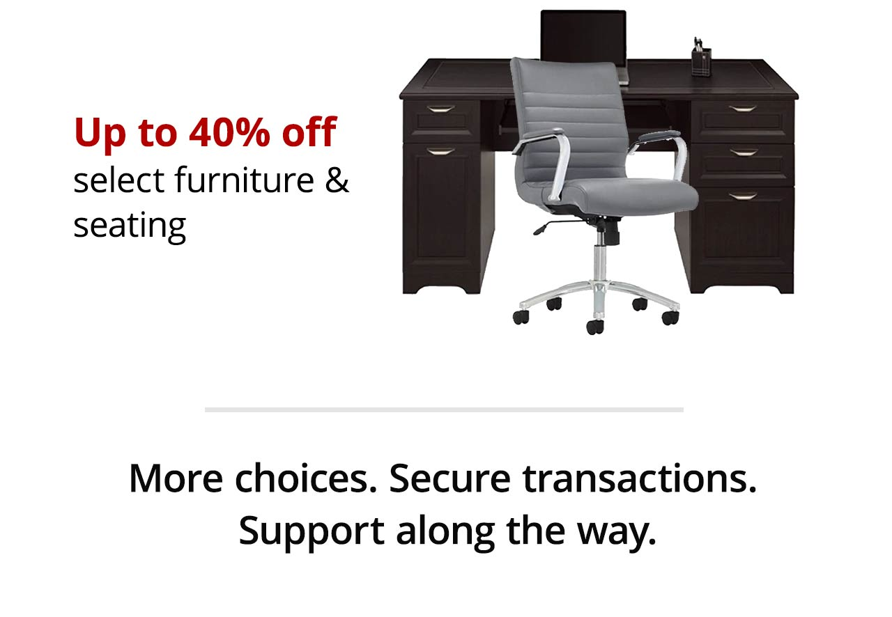 Up to 40% off select furniture & seating