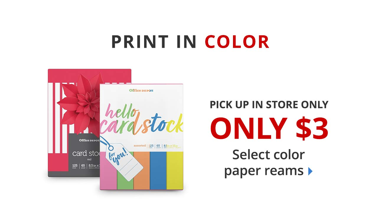 $3 select color paper reams