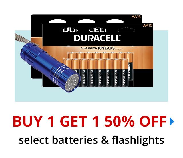 Buy 1 Get 1 50% off select batteries & flashlights