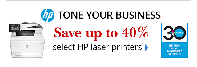 Save up to 40% select HP Laser Printers