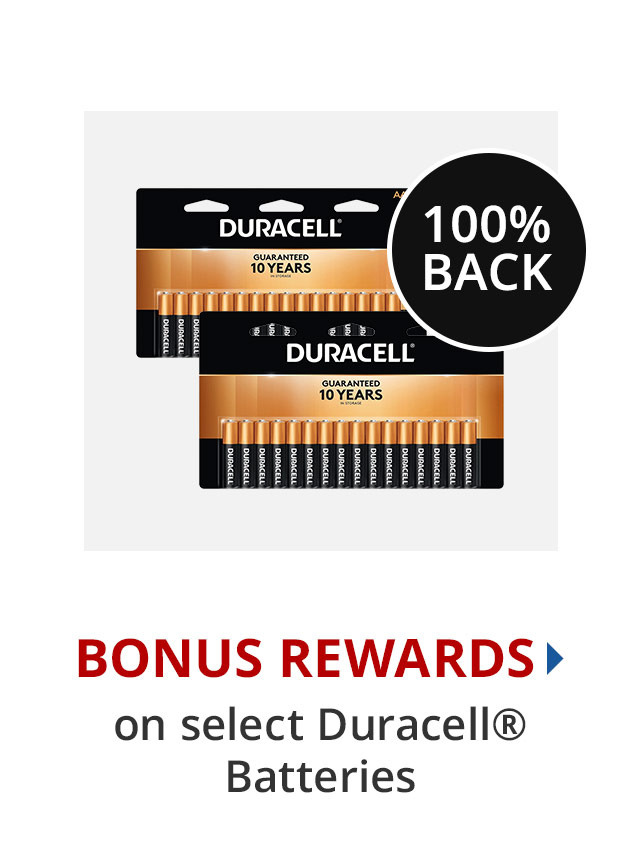 100% Back in Rewards on all Duracell Batteries