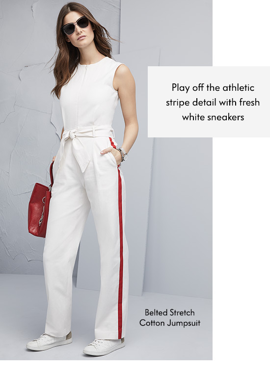 Belted Stretch Cotton Jumpsuit