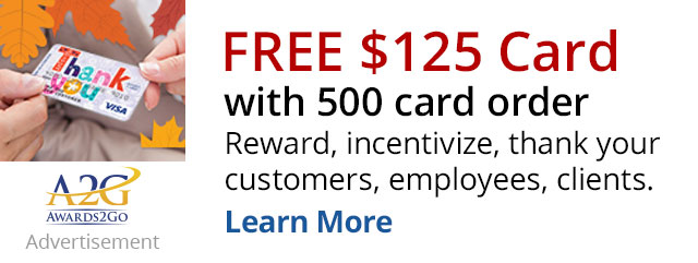 Free $125 gift card with 500 card order