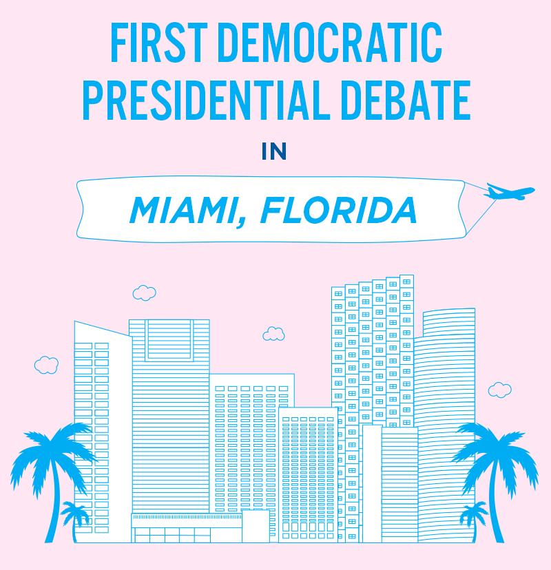 first Democratic presidential debate in Miami, Florida