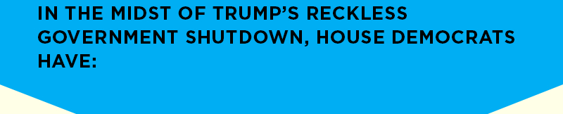 In the midst of Trump's reckless government shutdown, House Democrats have: