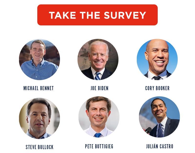 Michael Bennet, Joe Biden, Cory Booker, Steve Bullock, Pete Buttigieg, Julián Castro