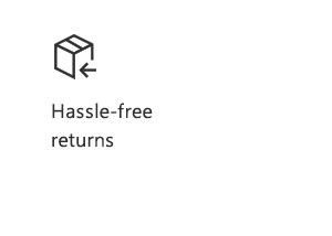 Hassle-free returns. Icon of box.