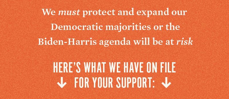 We must protect and expand our Democratic majorities or the Biden-Harris agenda will be at risk. Here's what we have on file for your support: