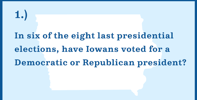 In six of the eight last presidential elections, have Iowans voted for a Democratic or Republican president?